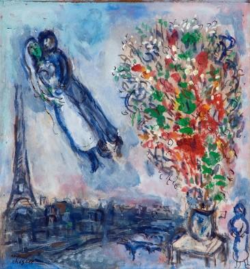 Marc Chagall - Noivos no céu de Paris