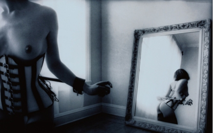 Woman in Corset and Reflection