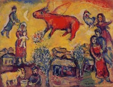 21 Marc Chagall, Vaca roja sobre cielo amarillo
